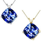 8mm Cushion CZ Sapphire Birth Gemstone Pendant Necklace 14K White Yellow Gold