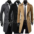 CHEAP! Korean Mens Slim Fit Double Breasted Wool Trench Coat Parka Overcoat Tops