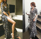 New Women Bohemian Full Length Maxi Navy Blue Floral Short Sleeve Wrap Dresses