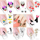 1 Sheet Cute Flowers DIY Designs Nail Art Beauty Lips French Tips Water Stickers