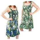 2 Pack: Women's Peacock Pattern Sundresses by RC Collection-Blue & Green