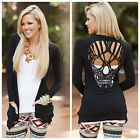 Cute Hollow Out Skull Pattern T-Shirt For Women Blouse Long Sleeve Top Black LCF