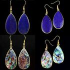 1Pair Lapis Lazuli/Abalone Shell Gold Plated Teardrop Water Drop Dangle Earring
