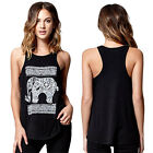 High Quality Women's Casual Tank Tops Fashion T-shirt Elephant Pattern Vest YXF