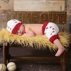 Baby Infant Newborn Baseball Crochet Knit Costume Hat Photography Prop Outfits
