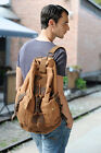 Mens Canvas Leather Military Style Backpack School Student Camping Shoulders Bag