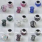 10 Colors Pick 5pcs Crystal European Large Hole Beads Fit Charm Bracelet Barrel