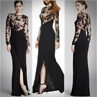 DAVID MEISTER $568 Black Lace Illusion Gown Sz 8 NEW
