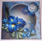 Handmade Greeting Card 3D All Occasion With Blue Flowers