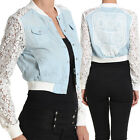 Themogan Skull Back Lace Sleeve Denim Bomber Jacket Girls Casual College Outer