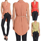 Themogan Sleeveless Shawl Collar Hi Lo Belted Blouse Open Front Long Vest Top