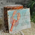 Rustic Wood Sign Plaque Wall Art Picture Nautical Lobster Crab Design Decoration