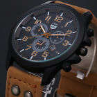 Military Leather Waterproof Date Analog Army Quartz Sport Men's Wrist Watches image