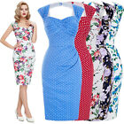 Vintage Retro 1950s 1940's Wiggle Pencil Midi Dress Formal Floral Party Dresses