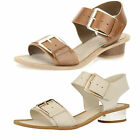Ladies Clarks Sandcastle Art Cotton Or Tan Leather Strappy Summer Sandals