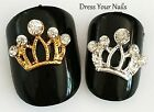 "Metal ""CROWN"" with Rhinestones 3d Alloy Nail Art - DIY Craft  Bling Gold/Silver"