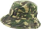 MENS 100% COTTON REVERSIBLE BUSH HAT pre faded gents sun bucket cap camo olive
