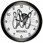 BOWLING WALL CLOCK BOWL PERSONALIZED 10 INCH BOWLER