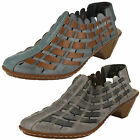 Ladies Rieker 46778 Beige/Grey Or Blue Combi Leather Casual Slingback Shoes