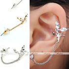 1pc Korean Womens Angel Wing Crystal Ear Cuff Clip On Chain Earring fit Left Ear