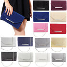 FAUX SUEDE EVENING DAY CLUTCH BAG WEDDING PROM HANDBAG WITH SILVER CHAIN