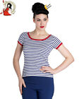 HELL BUNNY CALI NAUTICAL sailor STRIPED TOP t-shirt NAVY BLUE & WHITE