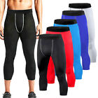 Mens Compression Shorts 3/4 Cropped Pants Workout Gym Clothes Base Layers Tights
