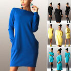 Fashion Womens Pockets Long Sleeve Jumper Tops Bodycon Sweater Tunic Mini Dress