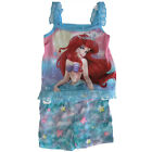 Disney Little Girls Blue Little Mermaid Print Lace 2 Pc Sleep Set 4-6