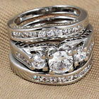 New 3pcs 925 Sterling Silver Wedding Engagement Rings Set Sz 6,7.8.9.