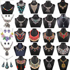 Women Jewelry Pendant Chain Crystal Choker Chunky Statement Bib Fashion Necklace