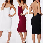 New Women Casual Camisole Long Tank Tops Spaghetti Strap Slip Mini Party Dress