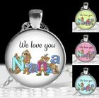 We Love You Nana Teddy Bears Glass Top Custom Pendant & Chain Necklace Gift Idea
