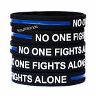 Two 2 No One Fights Alone Thin Blue Line Wristbands - Police Support Bracelets