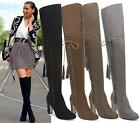 WOMENS OVER THE KNEE HIGH LACE UP TASSEL BLOCK HEEL STRETCH FAUX SUEDE BOOTS