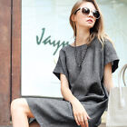 Brand New Women Summer Solid Gray Dresses Loose and Comfortable Long T-shirts