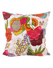 Cushion Cover: Indian Handmade Abstract Kantha Ethnic Cushion Cover White 20""