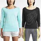 Nike Women's Gym Vintage Crew Scoop Neck 3/4 Sleeves Running Sweatshirt