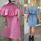 NEW WOMENS LADIES OFF THE SHOULDER BARDOT BUTTON DENIM LOOK SHIRT DRESS TOP S-XL