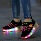 Wheelys Girls Kids Pink Sneakers LED Light Shoes With Wheels Roller Skate Shoes
