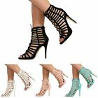 WOMEN LADIES LACE UP STILETTO HIGH HEEL ANKLE STRAPPY CUT OUT SANDALS SHOES SIZE