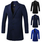 Top Men's Stylish Long Trench Coat Winter Warm Jacket Single Breasted Overcoat
