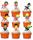 24 x SUPERHERO GIRLS STAND UP Precut Edible Wafer Cupcake Toppers