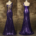 Fishtail SHINNING SEQUINS Mermaid Wedding Gown Evening Prom Party Dress PLUS SZ
