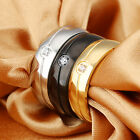 Pure Stainless Steel Silver gold black Smooth Ring Shiny Crystals stone 6-11#