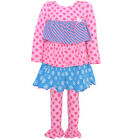 Bonnie Jean Baby Girls Pink Blue Dot Stripe Tiered 2 Pc Legging Outfit 0/3-24M
