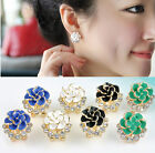 Fashion Women Lady Crystal Rhinestone Flower Rose Ear Stud Earrings Jewelry Hot