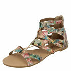 GIRLS SPOT ON MULIT COLOURED LACE UP SANDALS WITH BACK ZIP STYLE H0221