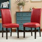 Leather Padded Dining Room Chairs (Set of 2) Parson Chair Black Brown White Red