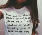 Women's Hipster Letter Print Hatred Casual Pullover Short Sleeve T-shirt